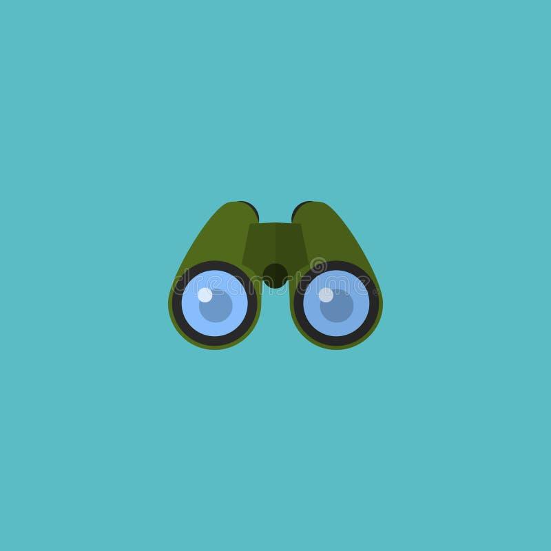 Płaski ikon lornetek element Wektorowa ilustracja Płaski ikona zoom Odizolowywający ilustracji