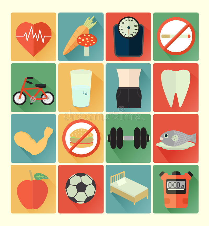 Płaski ikon zdrowie set ilustracja wektor
