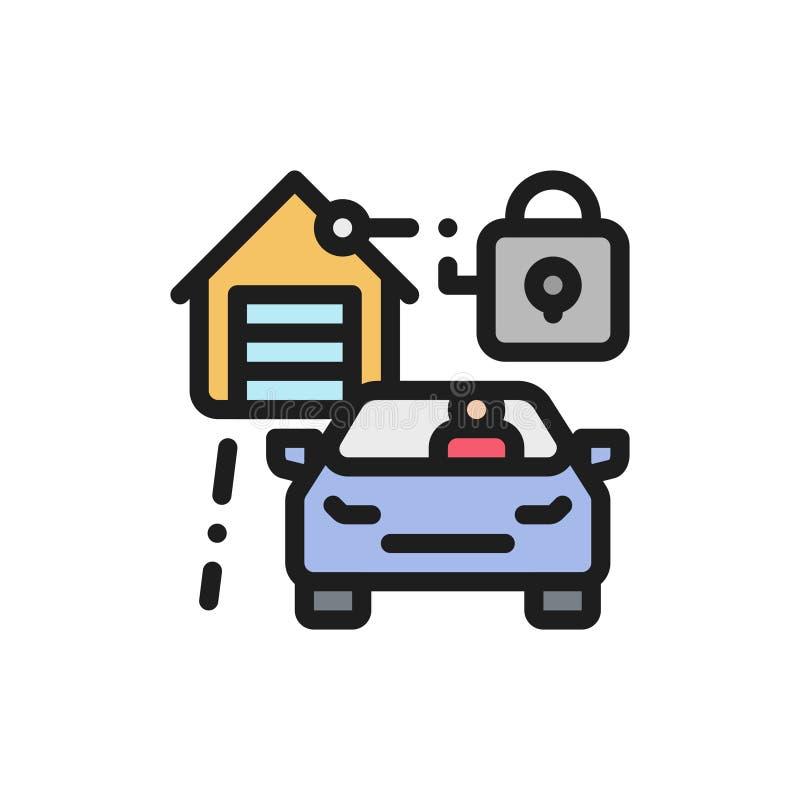 Płaski ikona garażu zarządzanie Pojęcie automatyzujący drzwi ilustracji