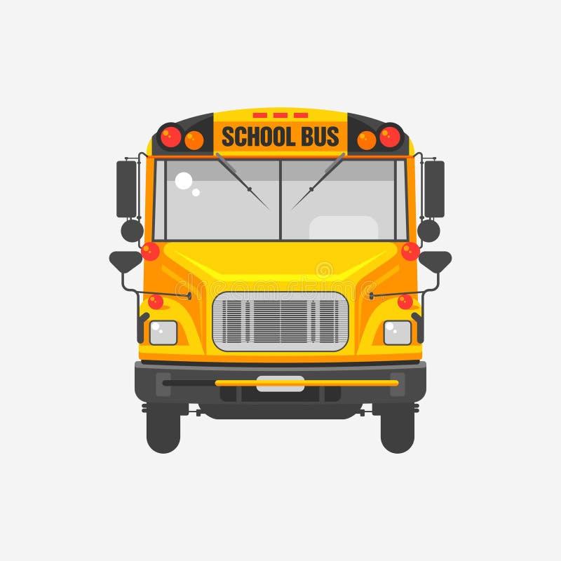 Płaski ikona koloru żółtego autobus szkolny royalty ilustracja