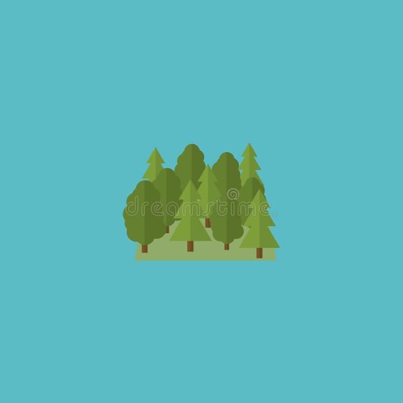 Płaski ikona lasu element Wektorowa ilustracja Płaski ikony drewno Odizolowywający ilustracji