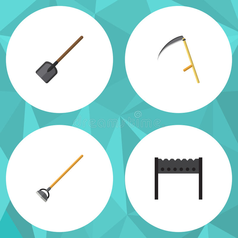 Płaski ikona ogródu set grill, narzędzie, łopata I Inni Wektorowi przedmioty, Także Zawiera rydel, krajacz, Uprawia ogródek eleme ilustracja wektor