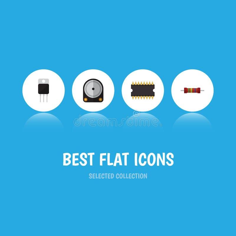 Płaski ikona przyrząd Ustawiający Hdd, mikroprocesor, opór I Inni Wektorowi przedmioty, Także Zawiera odbiorcy, opornik royalty ilustracja