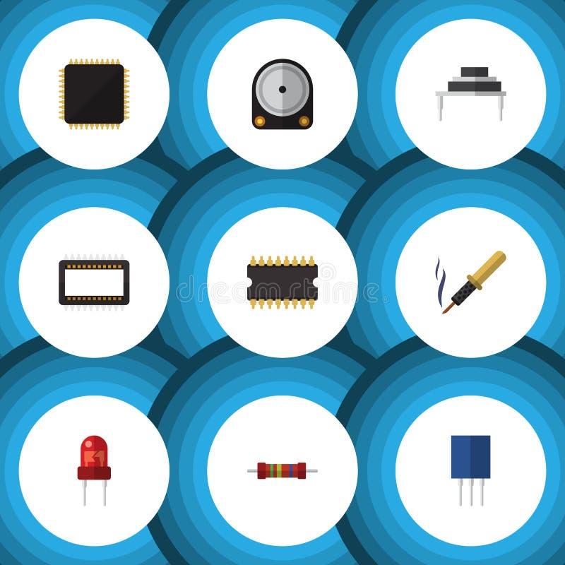 Płaski ikona przyrząd Ustawiający odbiorca, mikroprocesor, komputer mainframe I Inni Wektorowi przedmioty, Także Zawiera opór ilustracja wektor