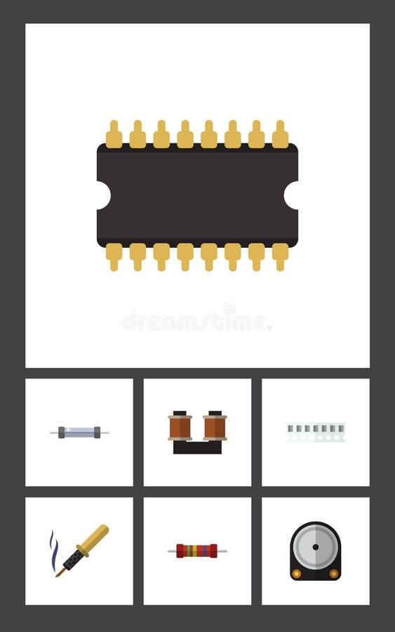 Płaski ikona przyrząd Ustawiający opór, Hdd, pamięć I Inni Wektorowi przedmioty, Także Zawiera procesor, Przypadkowego, groszak royalty ilustracja