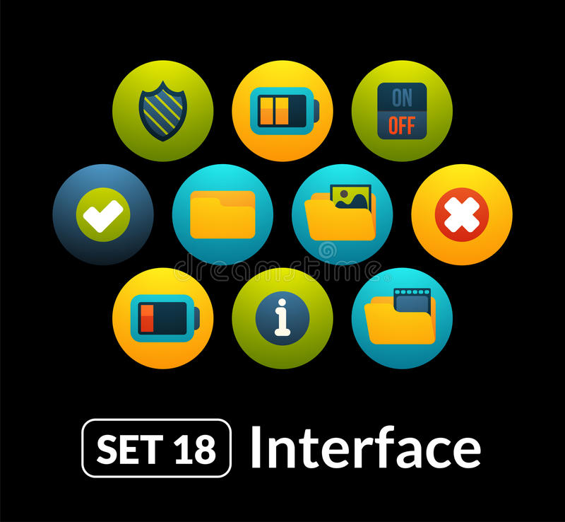 Płaski ikona wektor ustawia 18 - interfejs kolekcja ilustracji