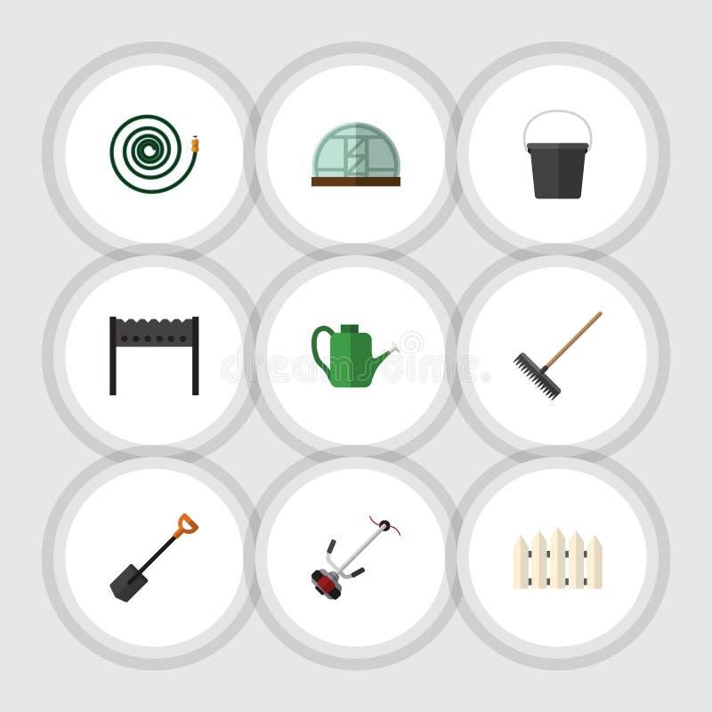 Płaski ikony dacza Ustawiający brona, Hosepipe, cieplarnia I Inni Wektorowi przedmioty, Także Zawiera Hosepipe, ogród, świntuch ilustracji