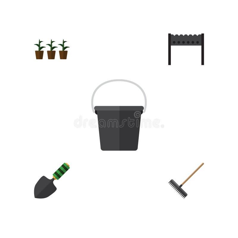 Płaski ikony dacza Ustawiający brona, kielnia, Flowerpot I Inni Wektorowi przedmioty, Także Zawiera kielnię, Bbq, łopata elementy royalty ilustracja