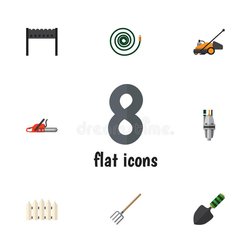 Płaski ikony dacza Ustawiający grill, siana rozwidlenie, Hosepipe I Inni Wektorowi przedmioty, Także Zawiera Drewnianego, wąż ela ilustracji