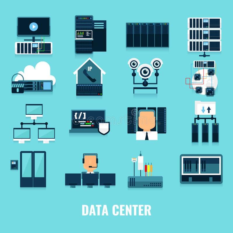 Płaski ikony Datacenter ikony set royalty ilustracja
