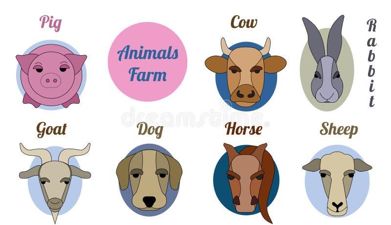 Płaski ikony farma drobiu ilustracji