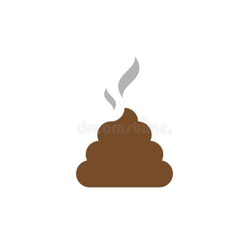 Płaski ikony gówno Wiązka gówno z dymem Brown gówno royalty ilustracja