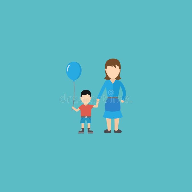 Płaski ikony kobiety element Wektorowa ilustracja Płaski ikona syn Odizolowywający Na Czystym tle Może Używać Jako kobieta, syn ilustracja wektor