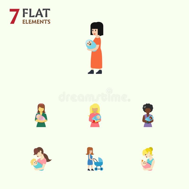Płaski ikony matki set dziecko, Perambulator, rodzic I Inni Wektorowi przedmioty, Także Zawiera dziecka, matka, Mama elementy royalty ilustracja