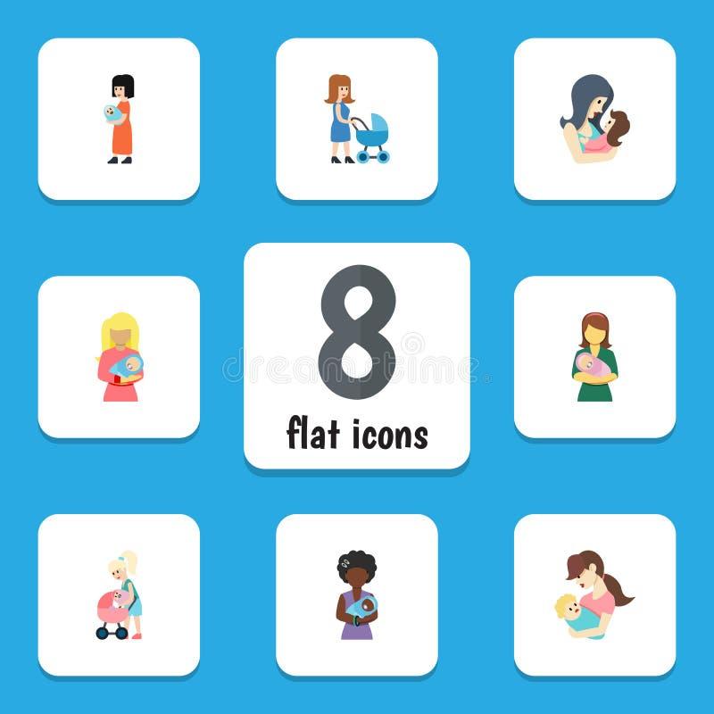 Płaski ikony matki set kobieta, dziecko, Mama I Inni Wektorowi przedmioty, Także Zawiera rodzica, dziecko, kobieta elementy royalty ilustracja
