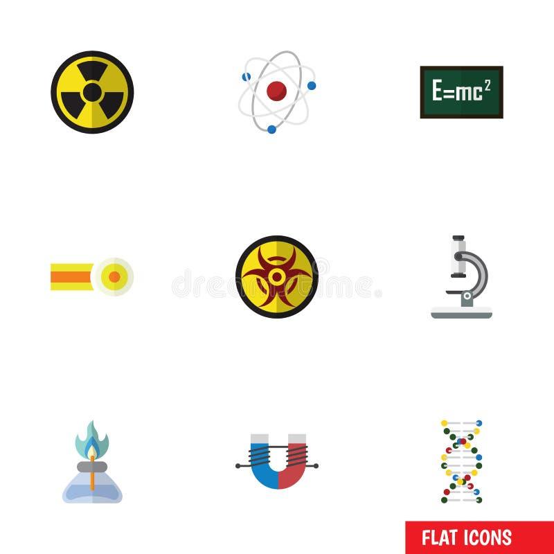 Płaski ikony nauki set irradiacja, orbita, substancja chemiczna I Inni Wektorowi przedmioty, Także Zawiera irradiację, niebezpiec royalty ilustracja