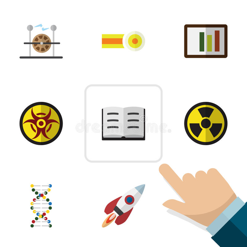 Płaski ikony nauki set substancja chemiczna, statek kosmiczny, irradiacja I Inni Wektorowi przedmioty, Także Zawiera silnika, rak royalty ilustracja