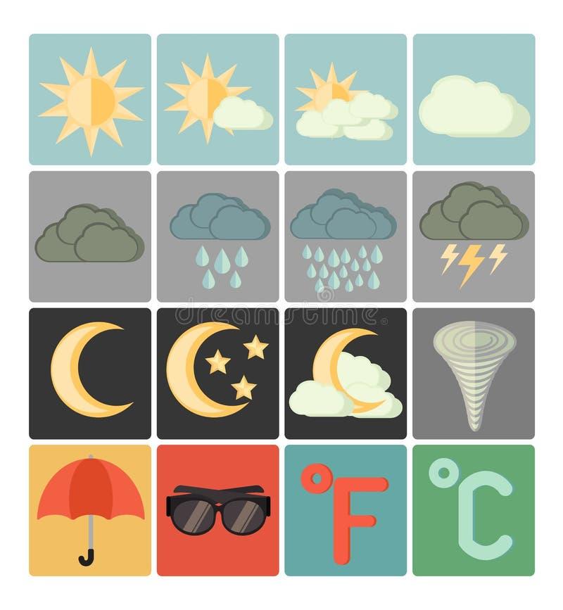 Płaski ikony pogody set ilustracji