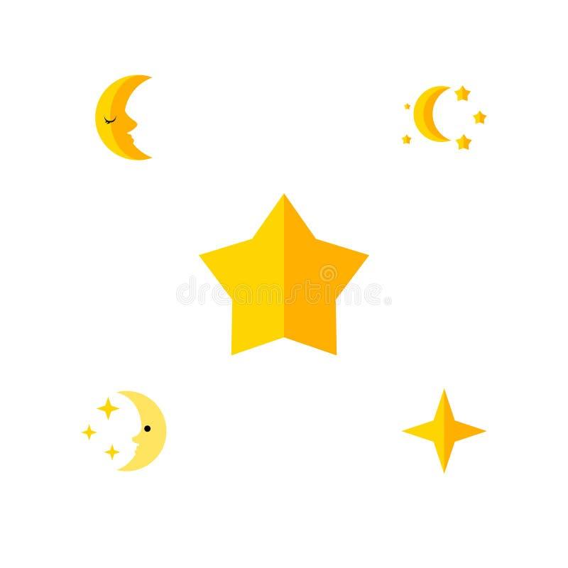 Płaski ikony pora snu Ustawiający pora snu, gwiazdka, gwiazda I Inni Wektorowi przedmioty, Także Zawiera asterysk, księżyc, Gwiaz ilustracji
