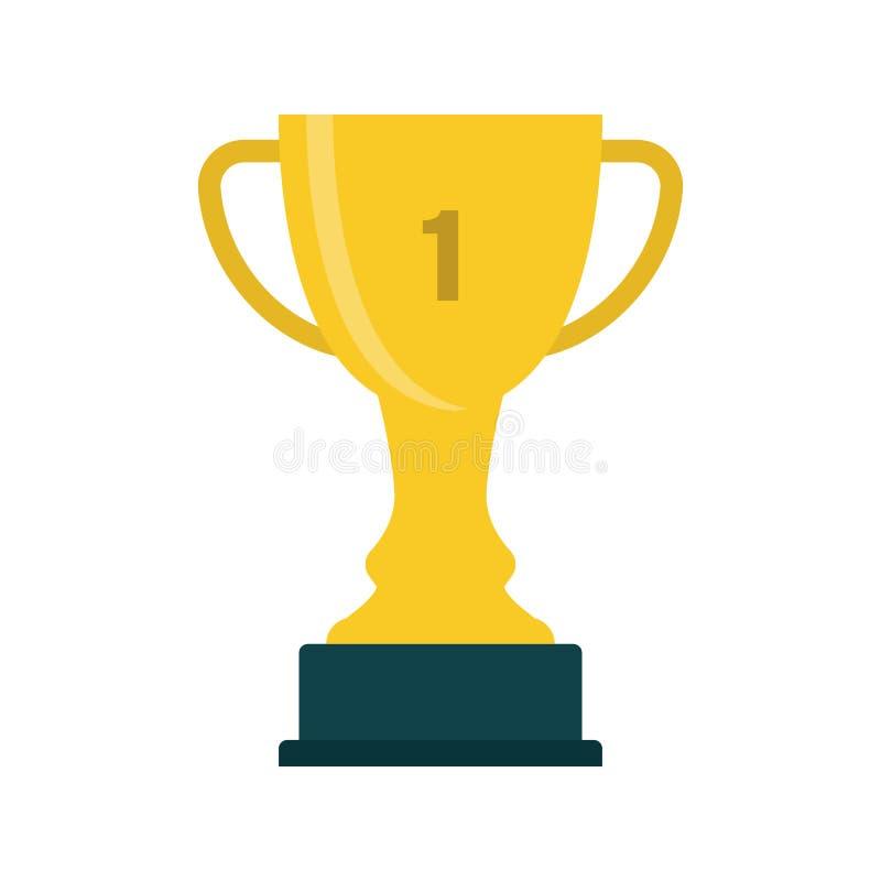 Płaski ikony trofeum z 1st miejscem ilustracji