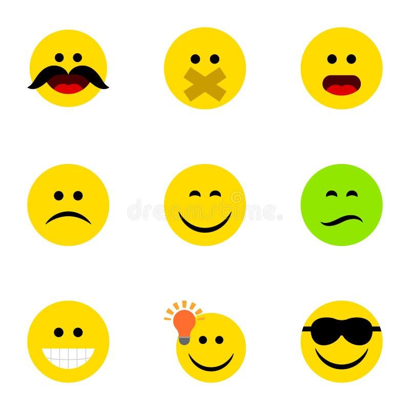 Płaski ikony twarzy set Dobrą opinię, Marszczy brwi, cud I Inni Wektorowi przedmioty Także Zawiera Smutnego, Zmieszany, śmiech royalty ilustracja