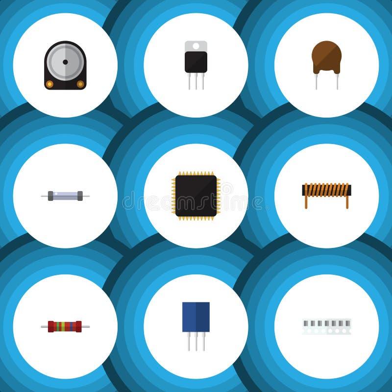 Płaski ikony urządzenie Ustawiający jednostka centralna, bobina, opór I Inni Wektorowi przedmioty, Także Zawiera odbiorcy, Ciężki ilustracji
