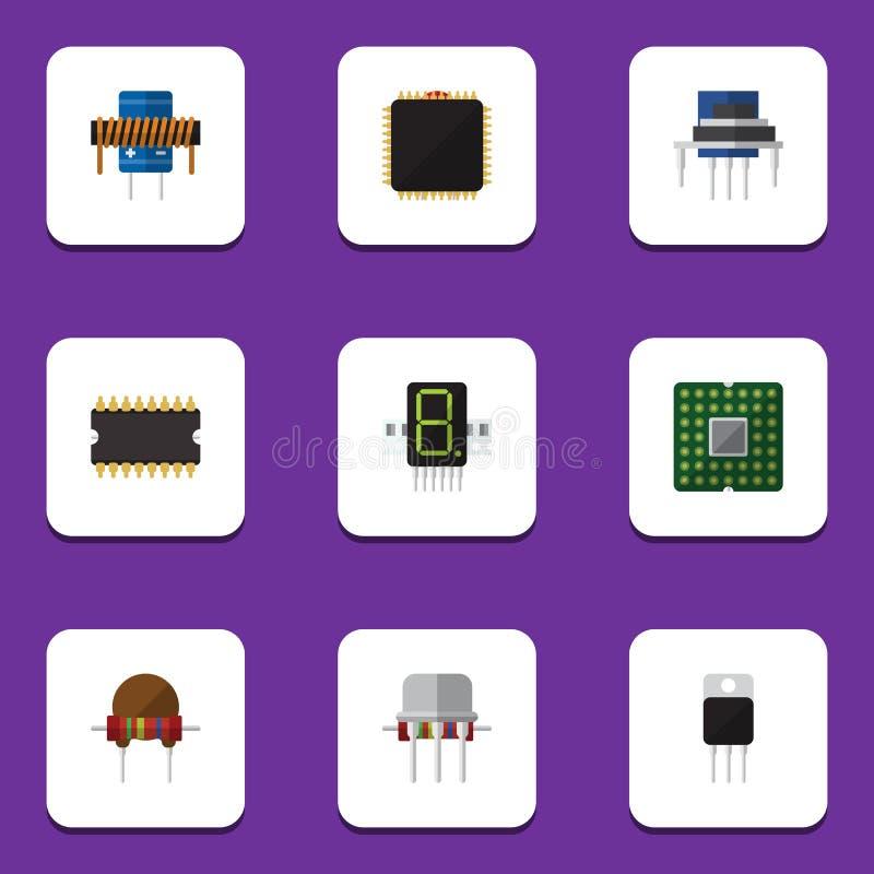 Płaski ikony urządzenie Ustawiający mikroprocesor, opór, Opiera się I Inni wektorów przedmioty Także Zawiera płytę główną, jednos ilustracji