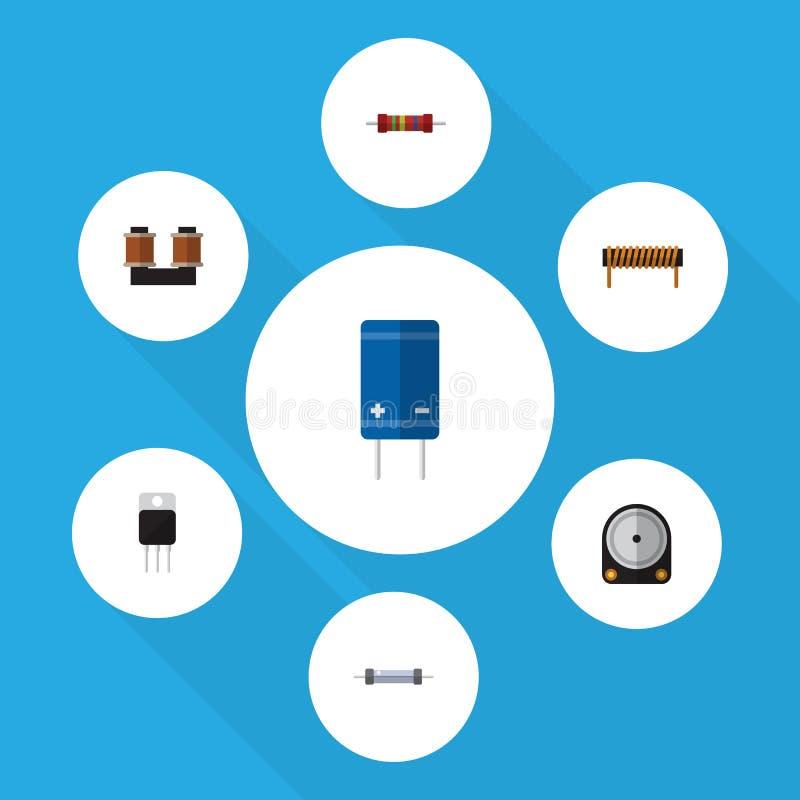 Płaski ikony urządzenie Ustawiający opór, Hdd odbiorca I Inni Wektorowi przedmioty, Także Zawiera set, elektronika, cewa royalty ilustracja