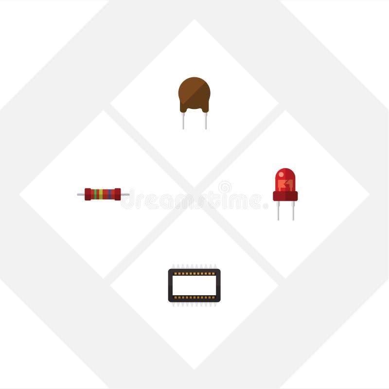 Płaski ikony urządzenie Ustawiający opór, komputer mainframe, trioda I Inni Wektorowi przedmioty, Także Zawiera opór, elektronika ilustracji