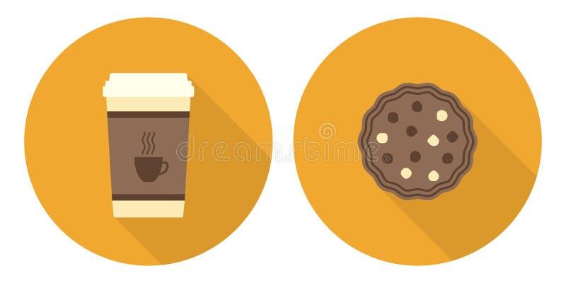 Płaski ilustracja set, filiżanka kawy i ciastko, royalty ilustracja