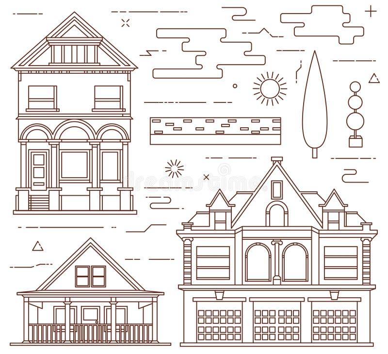 Płaski ilustracja set Miastowi i wioska elementy royalty ilustracja