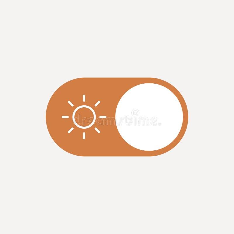 Płaski ilustracyjny pojęcie interfejs użytkownika element Na switcher, dzień, noc, słońce i księżyc - Z, Odosobniony wektor dla royalty ilustracja