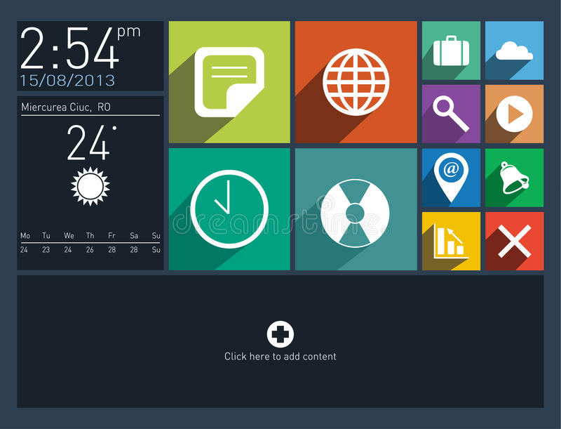 Płaski interfejs użytkownika z długimi cień ikonami royalty ilustracja