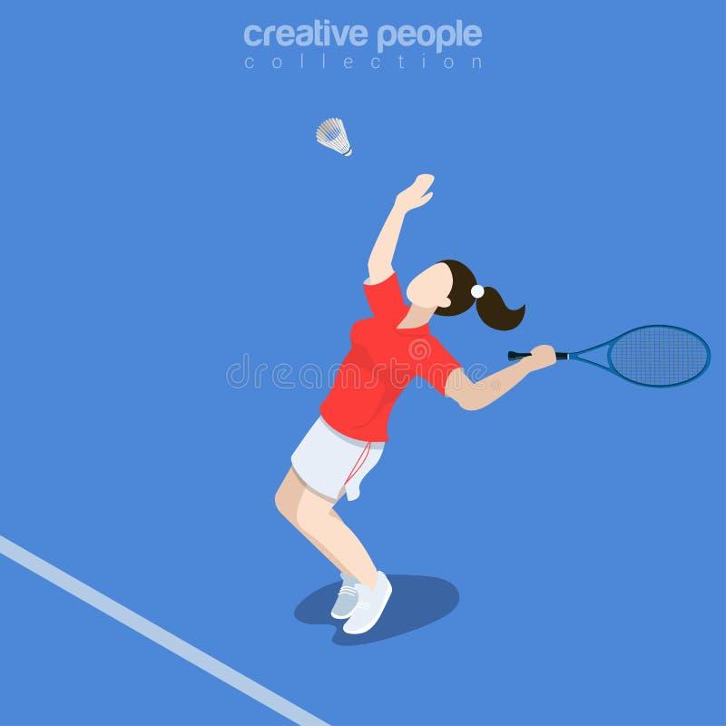 Płaski isometric Badminton gracza wektoru illustratio royalty ilustracja