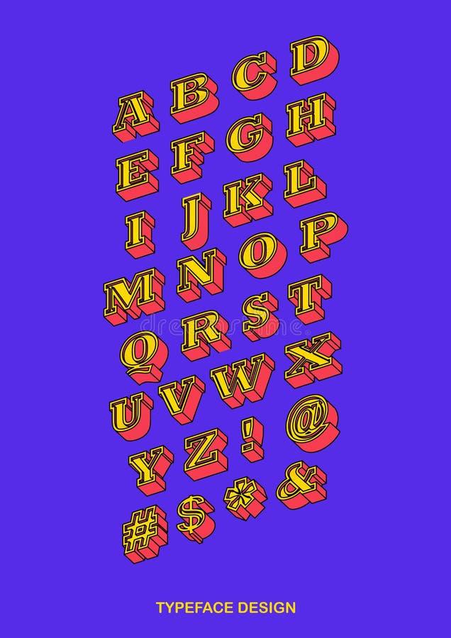 Płaski Isometric Colourful Serifs Typeface z Czarnym konturem Vect ilustracji