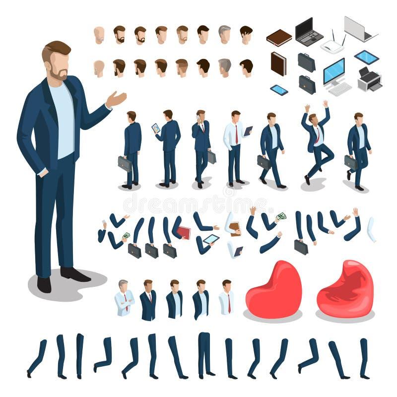 Płaski isometric część ciała mężczyzna set Biznes royalty ilustracja