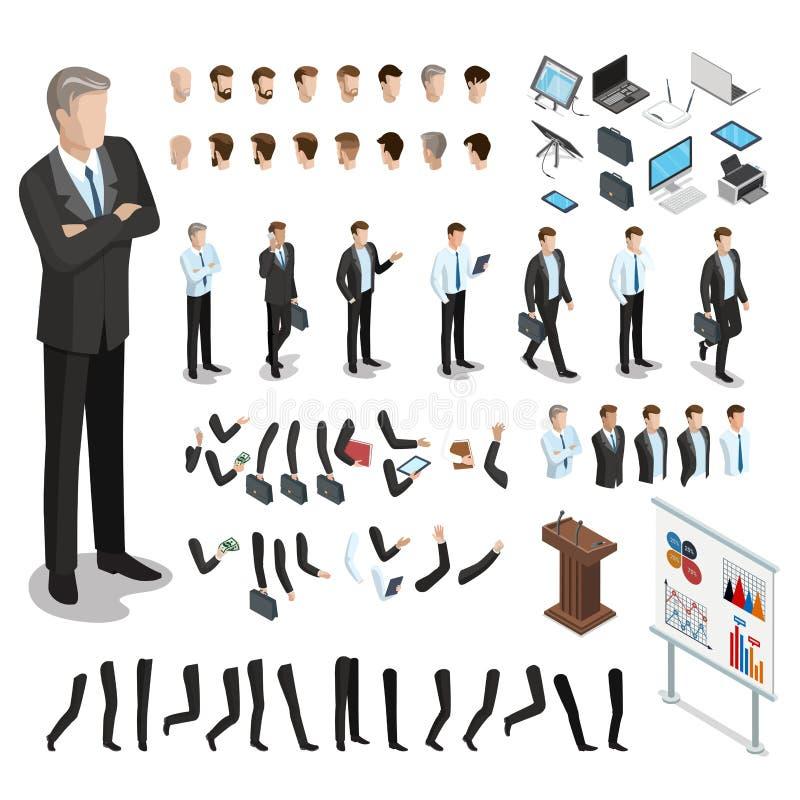 Płaski isometric część ciała mężczyzna set Biznes ilustracja wektor