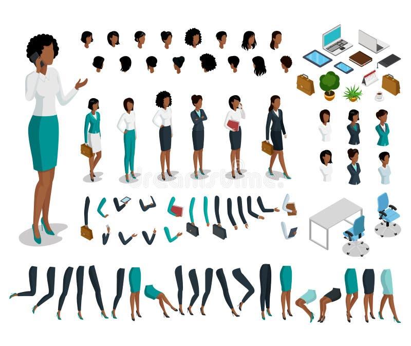 Płaski isometric części ciała kobiety set Busine ilustracja wektor