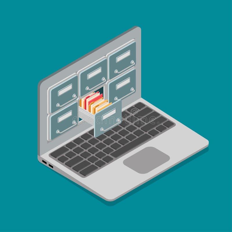 Płaski isometric laptop karcianej kartoteki ekranu wektor 3d ilustracja wektor