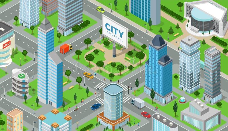 Płaski isometric miasto drogi modela wektor ilustracja wektor