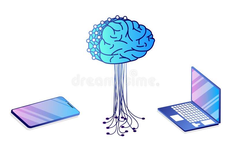 Płaski isometric pojęcie sztuczna inteligencja, royalty ilustracja