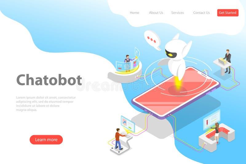 Płaski isometric wektorowy lądowanie strony szablon chatbot, ai royalty ilustracja
