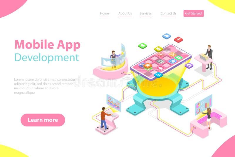 Płaski isometric wektorowy lądowanie strony szablon mobilny app rozwój royalty ilustracja