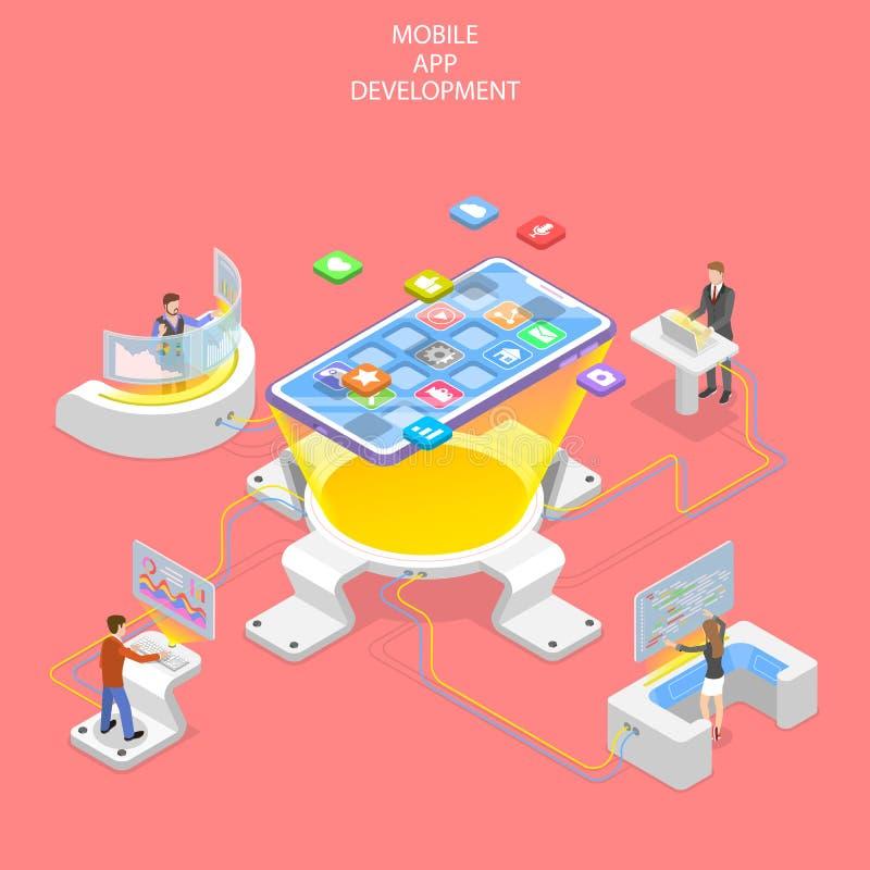 Płaski isometric wektorowy pojęcie mobilny app rozwój, programuje ilustracji