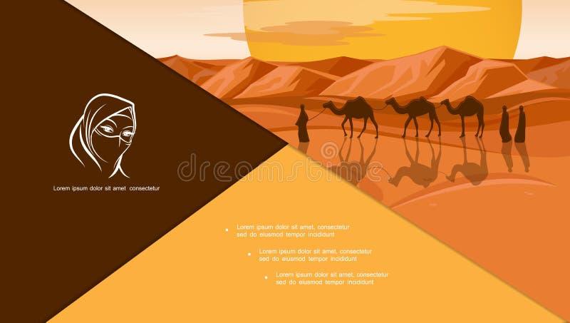Płaski język arabski I Islamski skład ilustracji