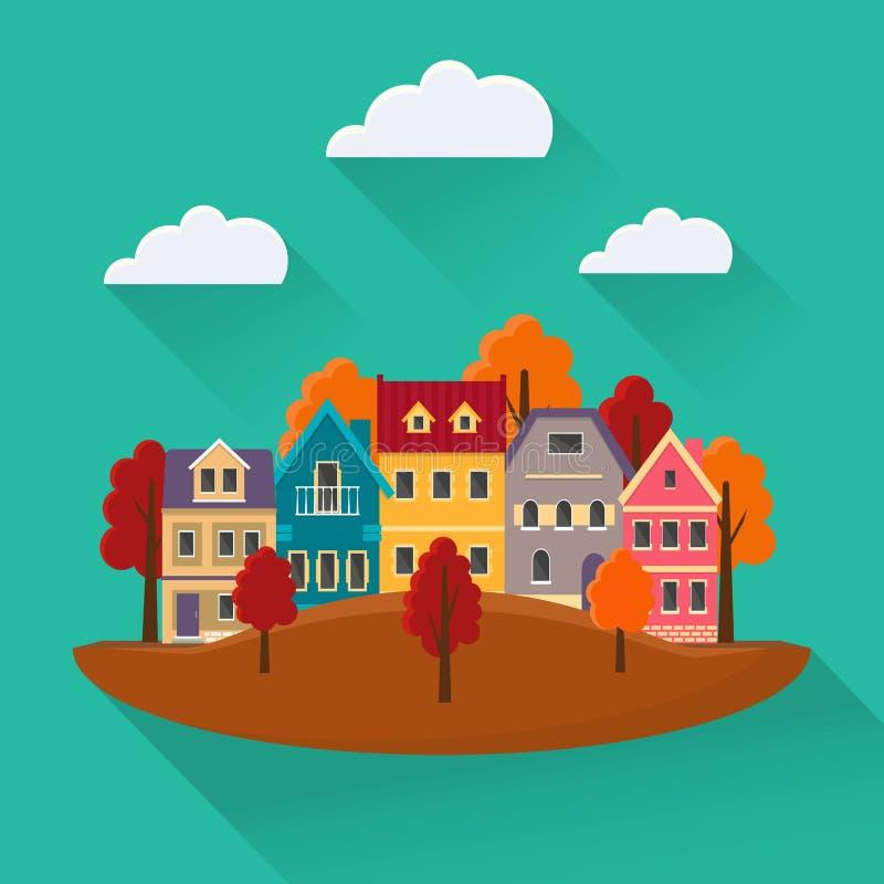 Płaski jesień pejzaż miejski royalty ilustracja