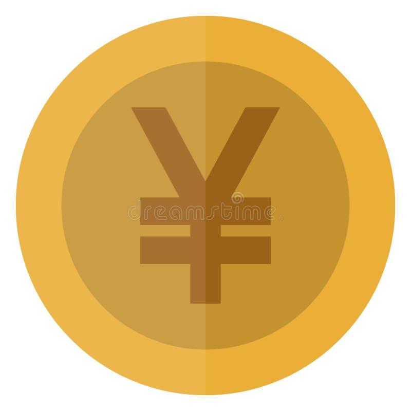 Płaski Juan, jen waluty round moneta Chiny, Japonia, Azja Kasynowa waluta, uprawia hazard monetę, wektorowa ilustracja odizolowyw ilustracji