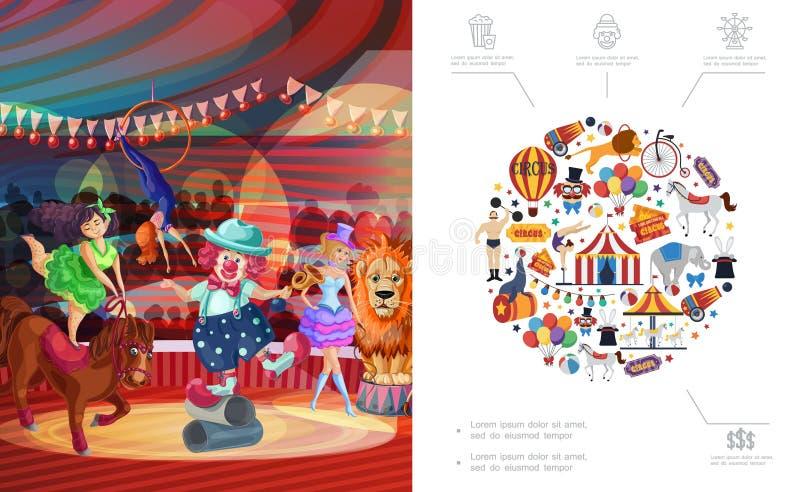 Płaski Karnawałowy Cyrkowy pojęcie royalty ilustracja
