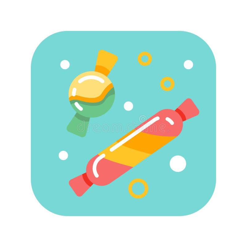 Płaski kolor ikony cukierek Ciasteczka pojęcie Płaska ilustracja Znak dla sieci lub wiszącej ozdoby app UI/UX, GUI interfejs użyt ilustracja wektor