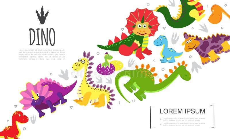 Płaski Kolorowy Śliczny Prehistoryczny zwierzę szablon ilustracja wektor